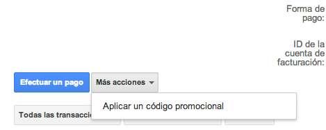 Introducir código promocional Google AdWords